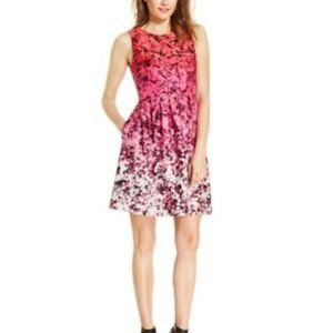 Vince Camuto Floral Ombre Fit & Flare Dress